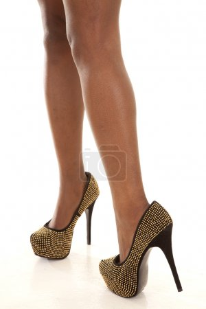 Gold walking shoes