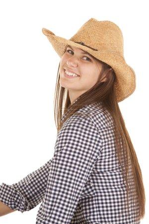 smile sit sideways cowgirl