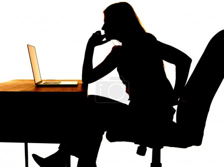 Silhouette woman thinking computer