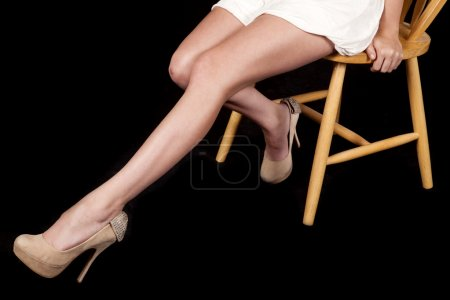 woman legs on black sit heels