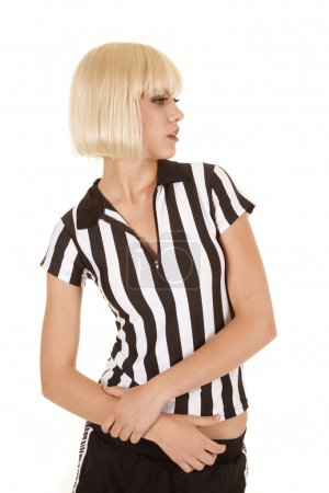 referee woman look side