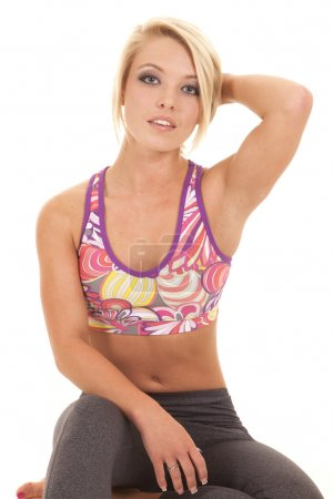 colored sports bra blond woman hand hair