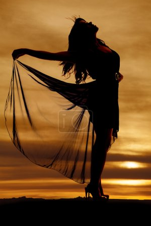 Photo pour Une silhouette de femme tenant sa jupe fluide - image libre de droit