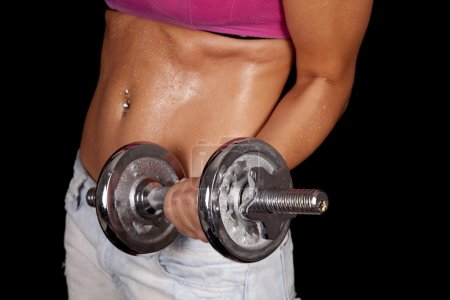 Woman curl weight sweat