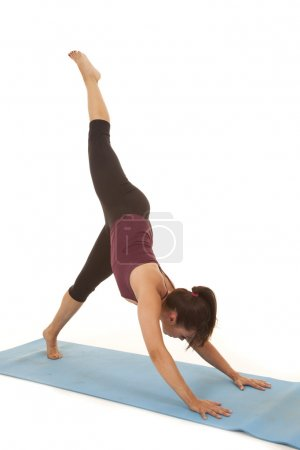 Woman fitness yoga leg up