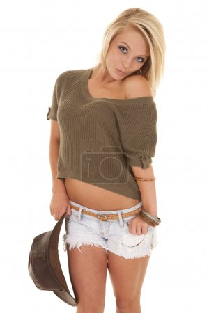 woman sweater western hat shoulder shrug