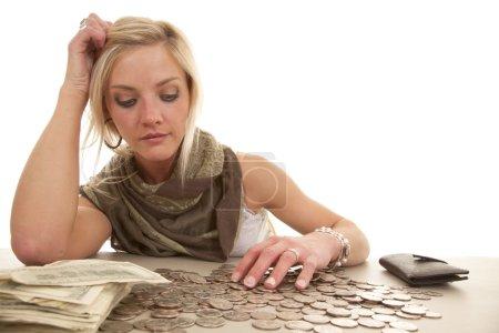 Woman money table change