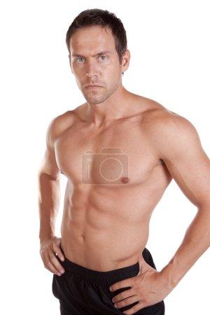 Man shirtless serious