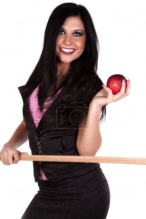 School teacher with stick and apple smiling