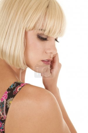 Woman blonde head side serious
