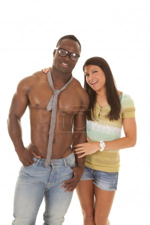 man no shirt tie woman close