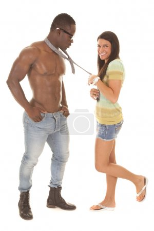 man no shirt tie woman leg up