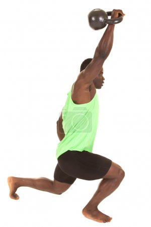 Strong man fitness weight up lunge