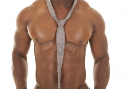 strong man no shirt tie chest