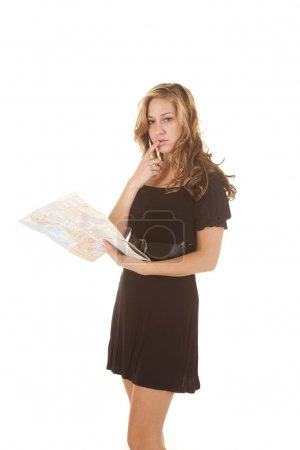 woman black dress holding map
