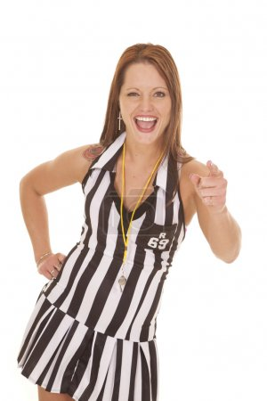 Woman referee signs point and laugh