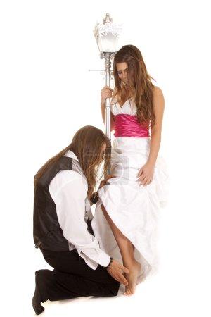 Couple formal attire man on knees