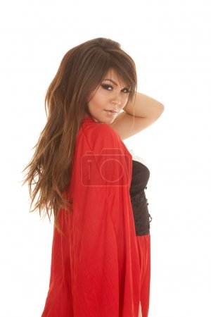 Woman red riding hood side