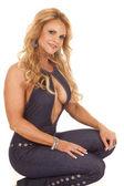 Mature woman sit open shirt smile