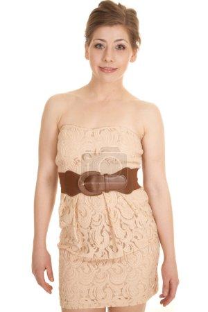 woman tan dress belt front looking