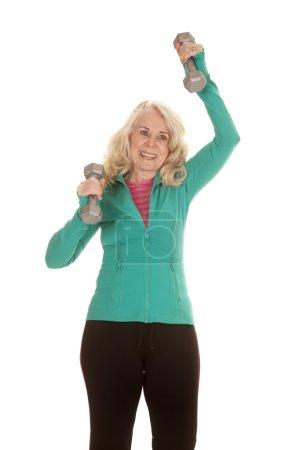 Elderly woman workout weights