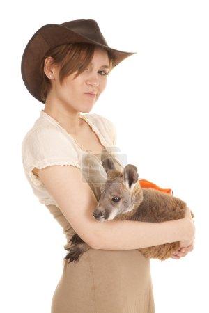 Latin woman kangaroo hold look