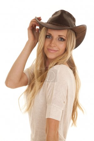 cowgirl light shirt close look smile