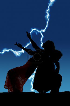 silhouette woman lean back on man hands out