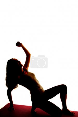 Silhouette woman stretch out