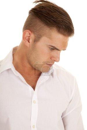 man white dress shirt close look down