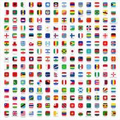 Detailed flags of the world with industry standard icon shape with detailed emblems and official rgb coloring