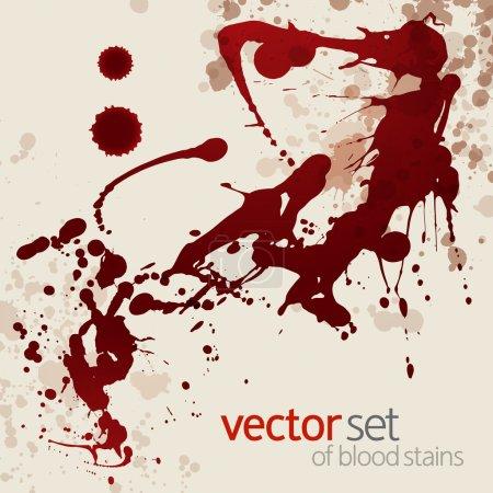 Illustration for Splattered blood stains, vector background - Royalty Free Image