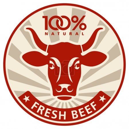 Illustration for Label with the head of a cow, vector illustration - Royalty Free Image