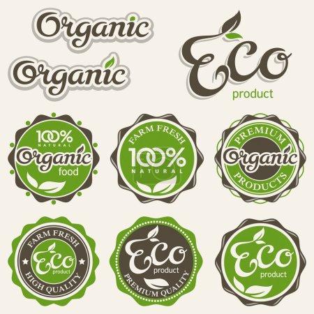 Illustration for Set of eco labels, vector illustration - Royalty Free Image