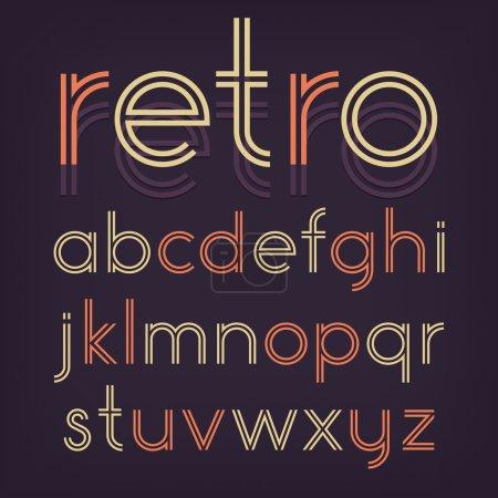 Illustration pour Alphabet dans un style rétro, typographie vintage - image libre de droit