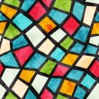 Colored mosaic seamless pattern with grunge effect...