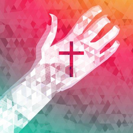Illustration pour Fond abstrait main gauche avec croix chrétienne - image libre de droit