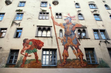 David and Goliath fresco on medieval house wall,Regensburg, Germ