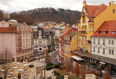Photo for Cityscape of famous Czech Spa Karlovy Vary in the winter time.The last quarter of the 19th century was a period of extensive building works and building of modern spa facilities. Thanks to this development, the city got its present architectural appe - Royalty Free Image