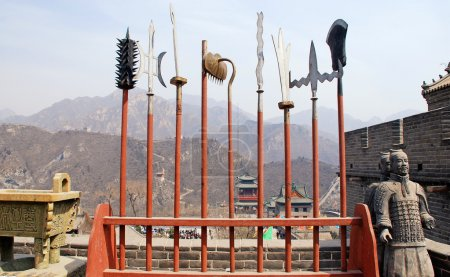 ancient spears and soldiers on Great Wall(China)