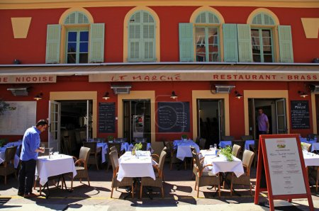 French restaurants on the Cours Saleya, Nice, France
