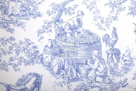 Blue and white french baroque pattern wallpaper