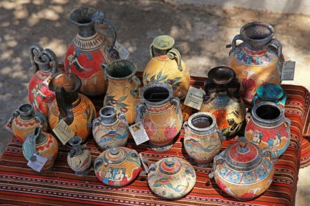 Street souvenir shop with traditional Greek  pottery