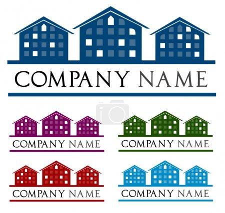 Illustration pour Toit avec fenêtre. Suggestions de logo, modèles de logo, créez votre propre logo . - image libre de droit