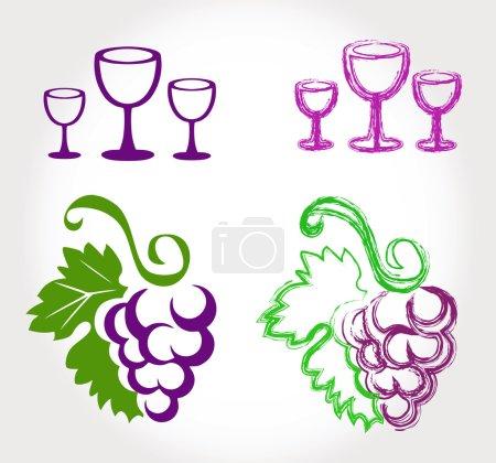 Illustration pour Raisins et verres à vin - ensemble - image libre de droit