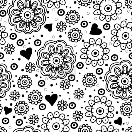 Beautiful floral seamless pattern with hearts