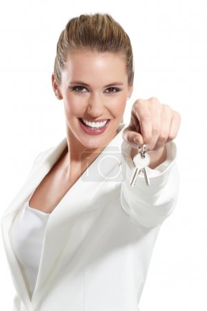 business woman with keys of an apartment