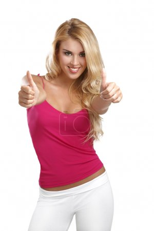 young happy beautiful woman with thumbs up