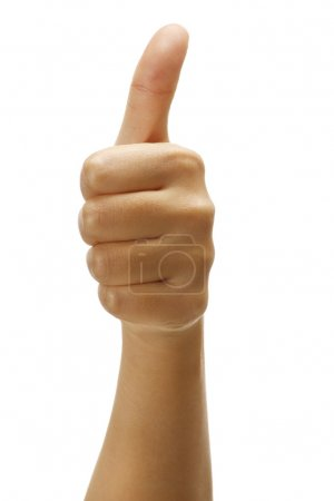 Photo for Female hand with thumbs up positive gesture on white - Royalty Free Image