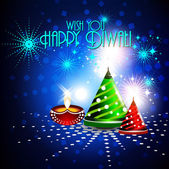 Colorfull crackers in shiny glowing blue color for diwali card design